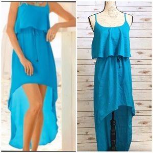 Boston Proper Blue High/ Low Spaghetti Strap Dress